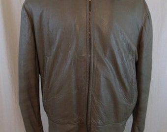 Vintage 60s Leather Taupe Bomber Jacket Size L