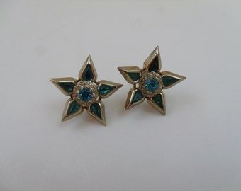 Vintage Blue and White Rhinestone Flower Screw Back Earrings.
