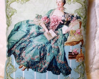 MARIE ANTOINETTE Pillow, Pink Roses Pillow, Victorian Lady Pillow, Victorian Decor, Shabby Marie Pillow, Beautiful!!!  #C51