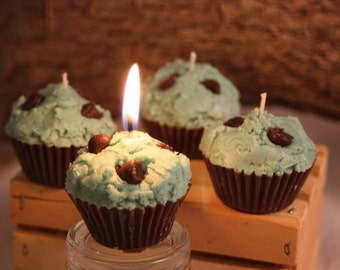 Mint Chocolate Chip Cupcake Candle Favors, Mini Mint-Chocolate Chip Cupcake Candles, Fake Food, Mint Chocolate Scented Candle