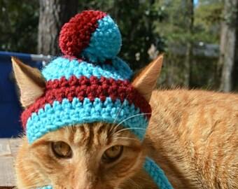 Pom Pom Hat for Cats, Pom Pom Cat Hat, Pom Pom Beanie for Cats, Pom Pom Cat Beanie, Cat Toboggan, Toboggan for Cats