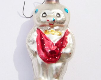 Bear with Vest Christmas Ornament German Glass Vintage