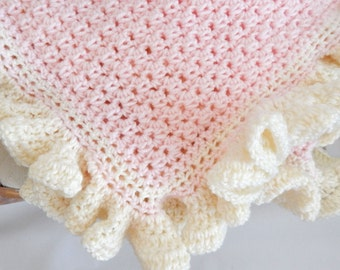 The Lauren Crocheted Blanket soft pink with cream ruffle edging, baby crocheted blanket