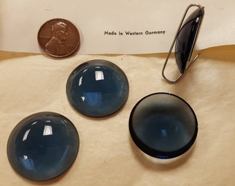 3 Vintage West German Glass Montana Sapphire 28mm. Smooth Round Cabochons 4541