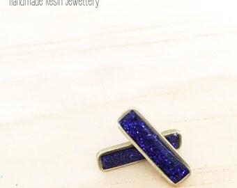 Bar Resin Navy Blue Glitter Earrings