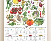 2017 Calendar. Illustrated Garden. Seasonal fruit and vegetables. Gift for gardener. Food art. Kitchen decor. 11x14