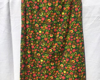 60s Green Funky Floral Shift