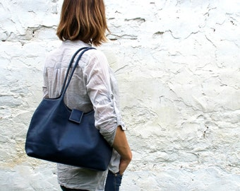 Dark blue leather tote bag, soft leather bag, leather handbag, shoulder bag,