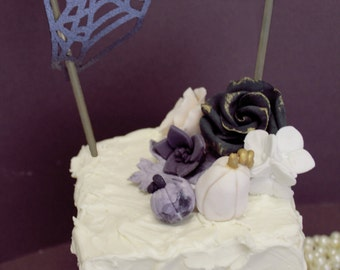 Edible Fondant Cake Toppers - 1 qty med rose, 1 qty small rose, 1 qty hydrangea cluster, 2 qty pumpkins,  1 qty leaf, 1 qty succulent