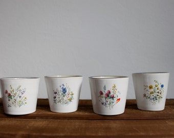 Wheel thrown ceramic cups Espresso set Flower decal White and blue ceramics with flowers - Ready to ship