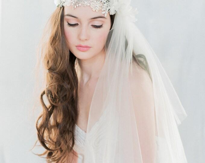 Crystal Juliet Veil, Lace Juliet Veil, Crystal Veil, Flower Veil, Ivory Veil, Beaded Veil, Lace Veil, Lace Veil, Embroidered Veil ANTOINETTE