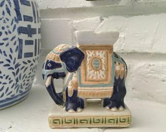 Vintage Chinese Elephant Candle Holder, Asian Decor, Vintage Asian Elephant, Ceramic Elephant Figurine, Asian Ceramic