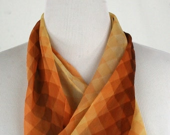 1970s Infinity Silk Chiffon Scarf Made in Japan