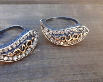 Couples - His & Hers - Best Friends Hammered Silver Ring Set