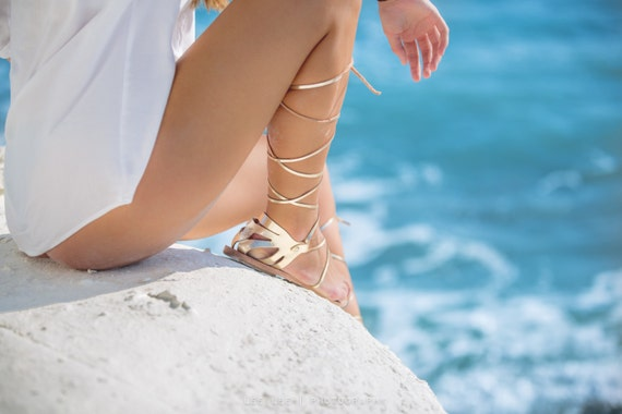 CRETE Gold Leather Lace Up Strappy Sandals,Wedding Sandals, Gold Flats, Elegant Leather Shoes, Women's Lace Up Sandals, Gold Strappy Sandals
