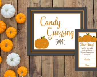 Candy Guessing Game - Little Pumpkin Baby Predictions - Little Pumpkin Shower - Fall Shower - Orange Gray - INSTANT DOWNLOAD - Printable
