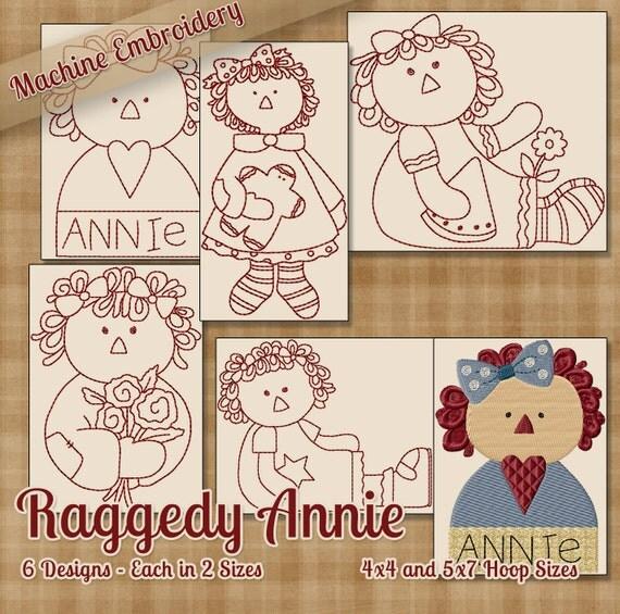 Redwork Raggedy Ann Annie Machine Embroidery Patterns