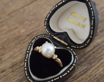 Vintage 1930s 10K Gold Pearl Ring