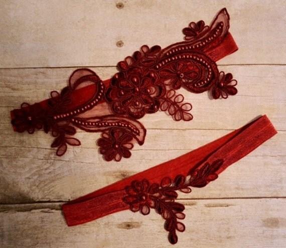 Vintage Lace Wedding Garter Set: Dark Red Wine Lace Wedding Garter Wedding Garter Set