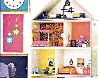 Retro 1967 Dollhouse Paper Ephemera Print Hickory Dickory Dock Girls Room Pastel Neon Nursery Rhyme Children Wall Art Mid Century Home Decor