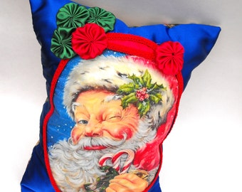 Candy Cane Kringle Pillow Merry Christmas Santa Claus Jingle Bells Saint Nicholas Holly Berry Home Decor Polka Dot Pocket Holiday Decoration