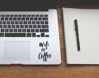 Laptop decal stickers for tumblers and mobiles, Coffee and wifi vinyl laptop stickers, Wall decal for walls and cars, ipad coffee