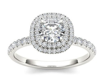 14Kt White Gold 1 Ct Diamond Double Halo Engagement Ring