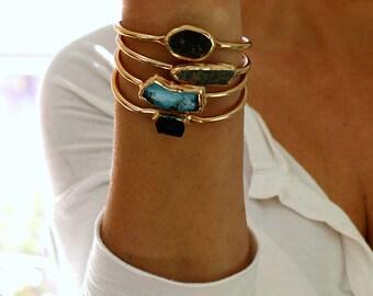 Turquoise Cuff Bracelet, turquoise, Bangle, Raw Turquoise Bracelet, Gemstone, Turquoise Bracelet, Gold Cuff Bracelet, Turquoise Jewelry.