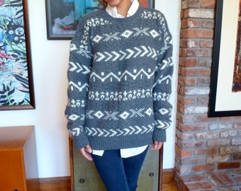 Boyfriend Sweater Aran Ski Nordic Oversize Crew Neck Ribbed Vintage Gray GAP Wool