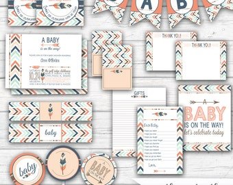 Tribal Baby Shower, Gender Neutral Baby Shower, Arrows and Feathers, Boho Baby Shower, Tribal Party Printables, Printable Party Package