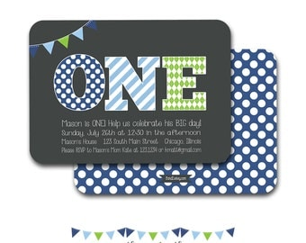 1st Birthday Invitation, First Birthday Invitation, ONE, 1st, 2nd, 3rd Boy's Birthday Invitation, Blue & Green, Printable File or Printed