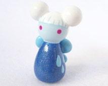 Shimmery Rain Faerie Miniature - Handcrafted Polymer Clay Fairy Miniature Sculpture - Fairy Garden Friend