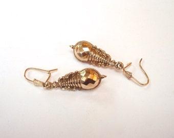 Antique Gold Earrings - Victorian 9K GOLD Etruscan Earrings