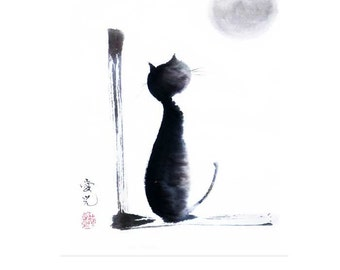 Sumi-e cat - Tomorrow Will Be A Better Day - signed print