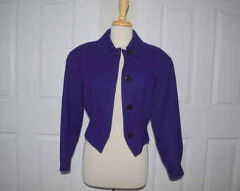 Deep Purple 'Toffs' Cropped Coat / Bomber Jacket - Women's 4 / Extra Small