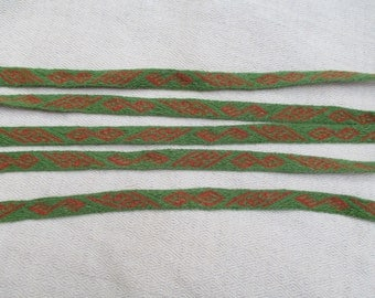 Tablet weave - green/orange pure wool