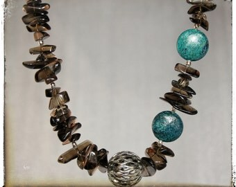 SALE....Sterling Silver, Smokey Quartz and Turquoise
