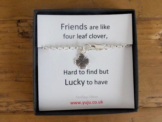 Silver Four Leaf Clover Bracelet with Quote, Personalised Quote Gift, Stocking Filler for Friends, Friends are Like Four Leaf Clover