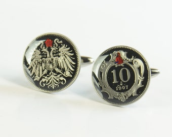 Enamel  Cufflinks - Austria Coin - Republik Osterreich