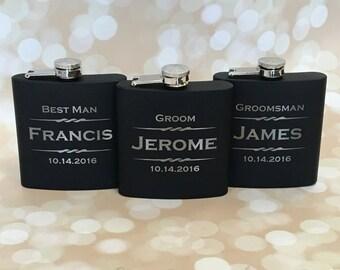 Set of 9 - Groomsmen Gift, Personalized Flask, Engraved Flask, Gift for Groomsmen, Best Man Gift, Hip Flask, Groomsmen Flask, Custom Flask