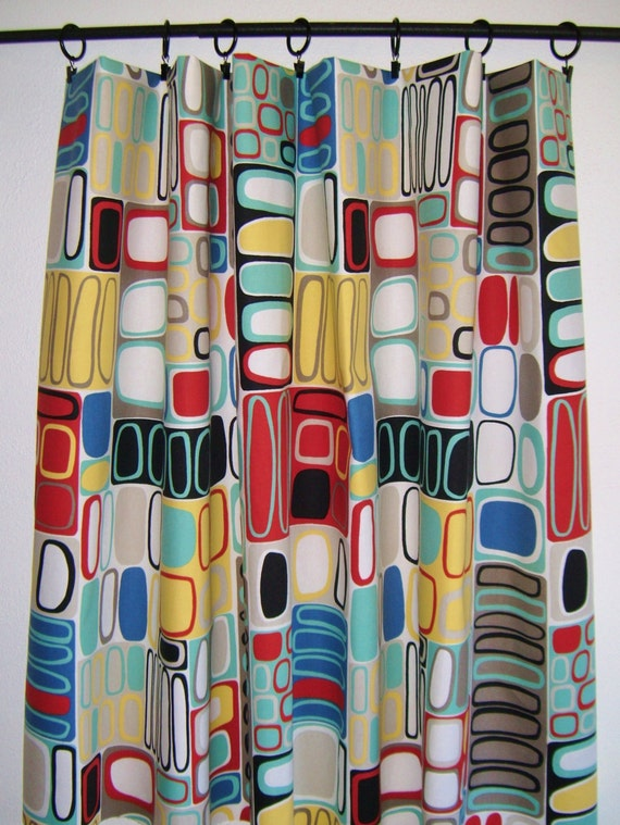 Items Similar To Mid Century Modern Inspired Window Curtain Panels Geometric Contemporary