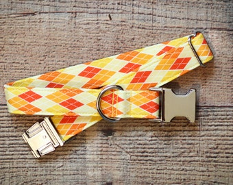 Argyle Dog Collar, Male Dog Collar, Yellow, Orange, Red, Gold, Dog Collar, Female Dog Collar, Pet Collar, Large Dog Collar, Small Dog Collar