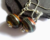 Beautiful lampwork glass dangle earrings on sterling silver wires, orange and silver grey swirls, glass sterling silver wire jewelry ER522