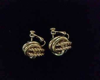Vintage Napier Goldtone Celtic Twisted Knots (dual screwback/clip-on) Earrings (WhtD3)