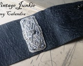 Boho, natural black, soft leather cuff, embellished bracelet, Vintage rhinestone repurposed cuff by The Vintage Junkie Shop