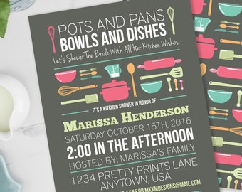 Stock the Kitchen Bridal Shower Invitation, Pots and Pans, Couples Shower Invite, Gray Kitchen Shower, Printable Invite, #20