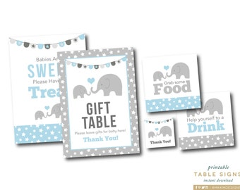 Elephant table signs elephant baby shower babies are sweet elephant party signs gift table sign elephant decor instant download babies are negle Choice Image