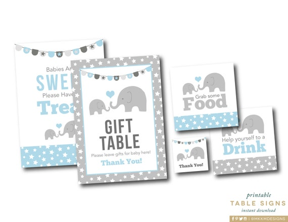 Elephant party signs gift table sign elephant decor instant il570xn negle Gallery