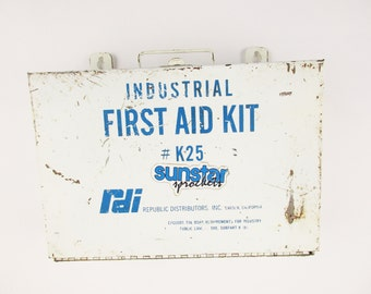 Vintage Industrial 'First Aid Kit No. K25' - Vintage Medical History - Original White Metal Wall-Mount Box - Full of Stuff