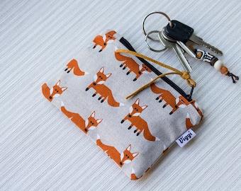 Fox coin purse, mini zipper pouch foxes, card wallet change pouch, cable organizer